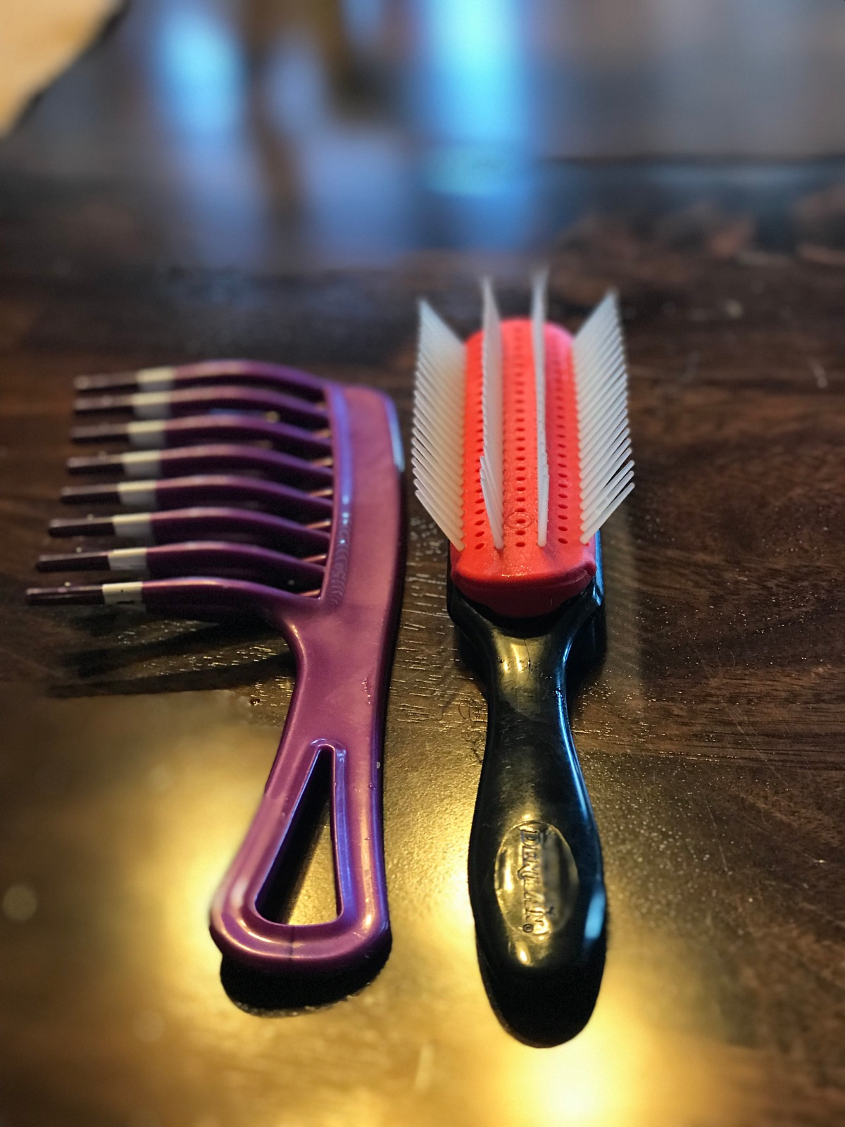 My Denman Brush and Wide-tooth Comb